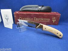 "Muela Fixed Blade ""Setter"" Knife White Handle Mint In Box & Sheath SETTER - 11B"
