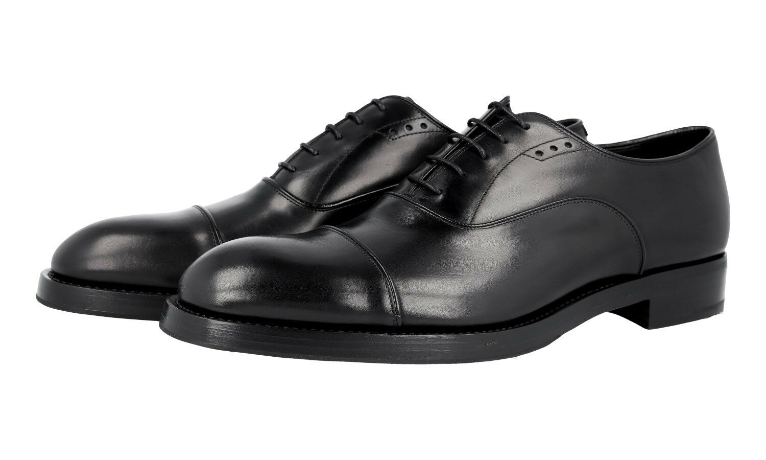 AUTH LUXURY PRADA CAP TOE OXFORD SHOES 2EA130 BLACK NEW US 10 EU 43 43,5