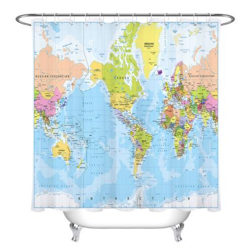 Bathroom Decor Waterproof Fabric Shower Curtain Set Antarctica World Map Pattern