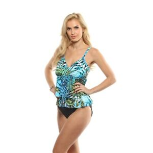 NWT-120-MIRACLESUIT-SHERIDAN-BLUE-034-LEAVES-034-449938-ONE-PIECE-SWIMSUIT-sz-16