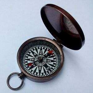 NEW Brass Pocket Compass With Lid ~ Magnetic ~ Nautical Camping Hiking