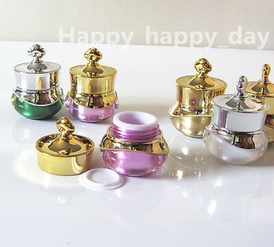 200X Empty Cosmetic Cream Jar/Pot/Lotion Container Make up Tester Gold/Silver 5g