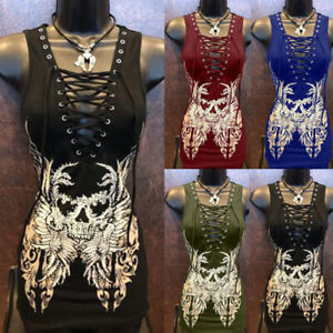 Medieval-Women-Sleeveless-Slim-Lace-up-Print-Party-Gowns-Dress-Halloween-Costume