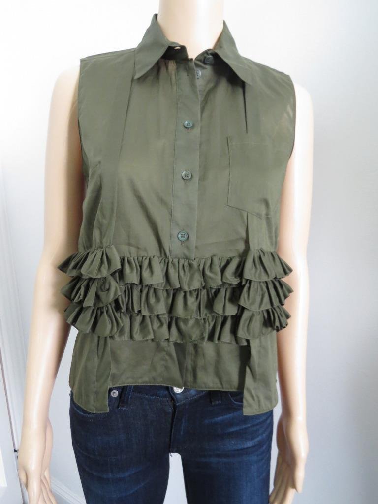 NWOT Marni Olive Cotton Multi-TIer Ruffle Sleeveless Blouse Top, Sz 38