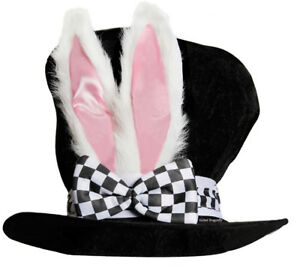 WHITE RABBIT HAT Mad Hatter Top Hat White Bunny Easter Alice and ... 2c218255932