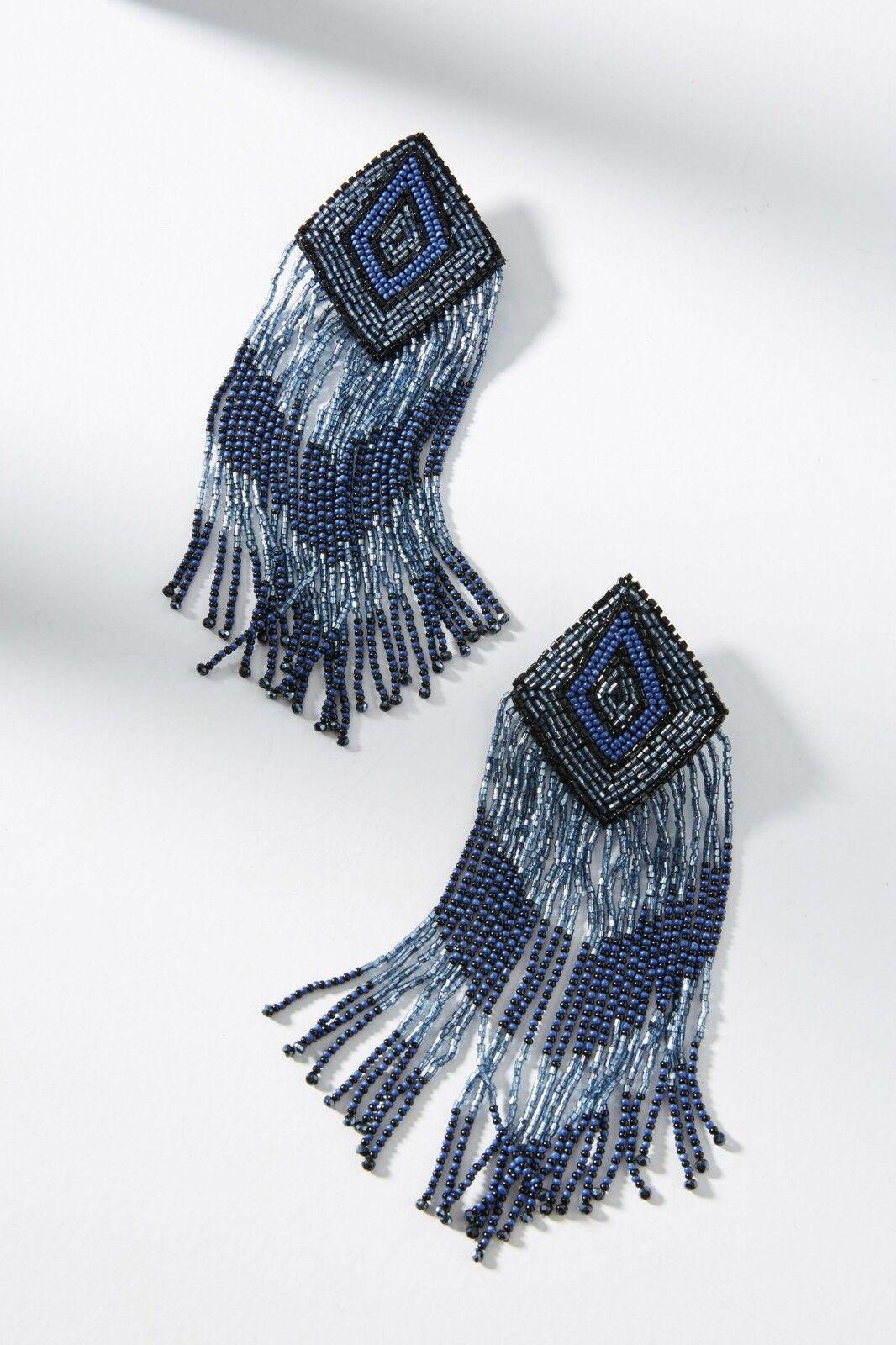 Anthropologie Olivia Dar bluee Beaded Tasseled Arlequin Drop Fringe Earrings  98