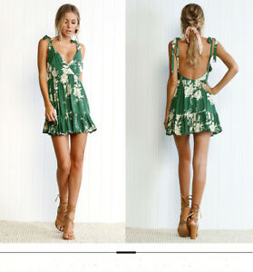 Women-039-s-Summer-Backless-Boho-Short-Dress-Sexy-V-Neck-Casual-Beach-Mini-Dresses