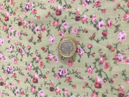 Vintage Rosa Flor Poly Algodón pollycotton mostaza 112CM Tela