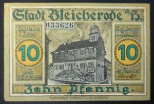 Notgeldschein-Stadt-Bleicherode-10-Pfennig-im-Harz-Maerz-1921-Nr-033626