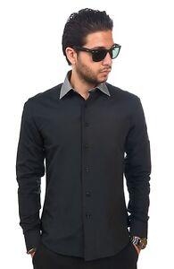 New Mens Dress Shirt Black Grey Collar Tailored Slim Fit