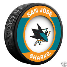 "SAN JOSE SHARKS ""Retro"" Series Team Logo Model SOUVENIR PUCK NEW In Glas Co."