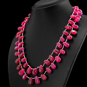 AMAZING-372-00-CTS-EARTH-MINED-RICH-RED-RUBY-2-STRAND-PEAR-SHAPE-BEADS-NECKLACE