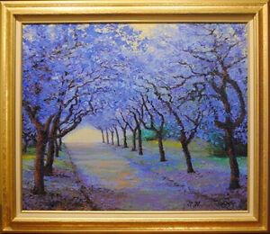 "Jacarandas. Original framed oil on canvas 20""x24"" impressionistic painting."