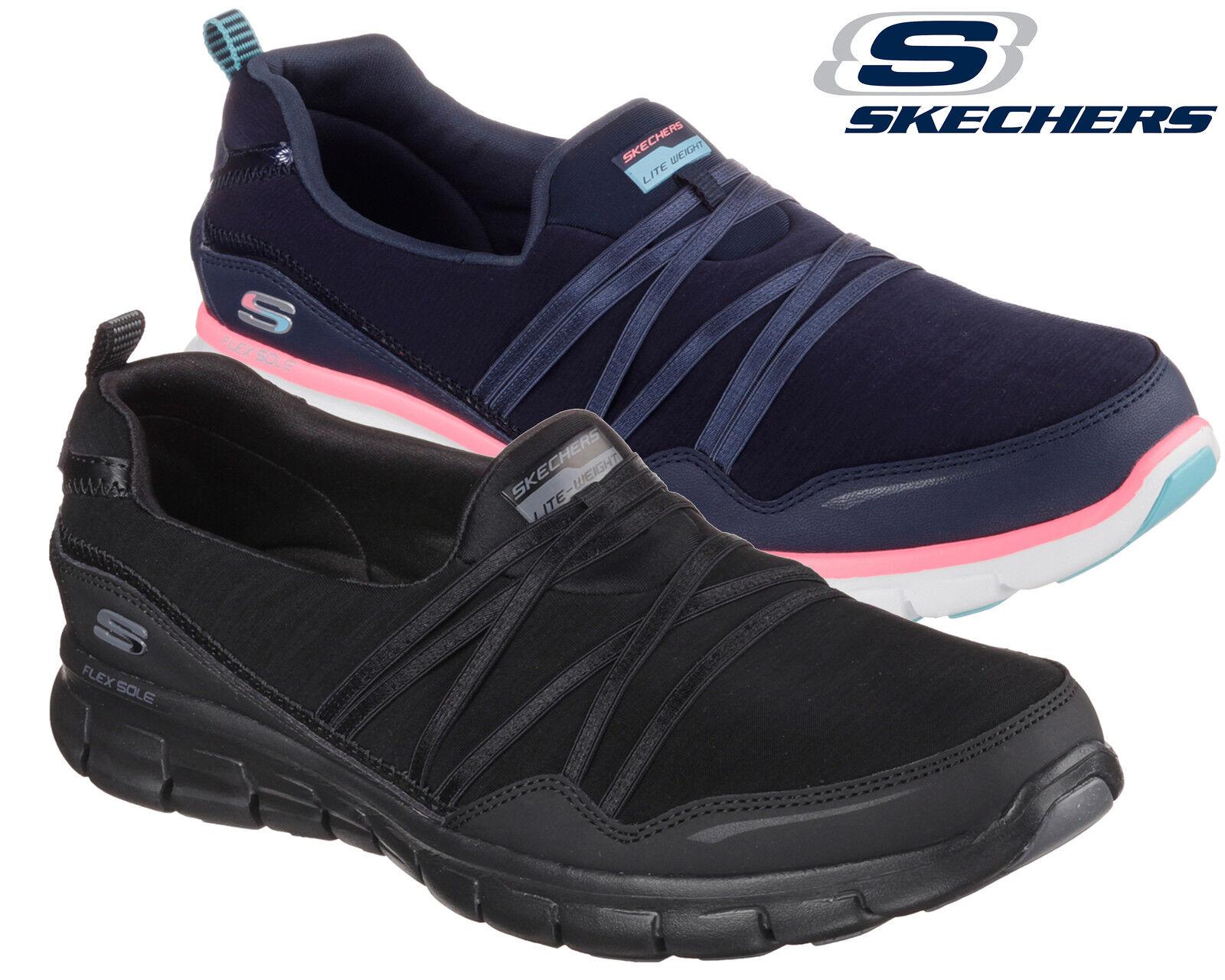 Ladies Skechers Go Walk Memory Foam Slip On Black Trainers Work Walking Shoes