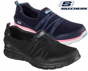 wholesale dealer 86317 5b677 Details zu Ladies Skechers Go Walk Memory Foam Slip On Black Trainers Work  Walking Shoes