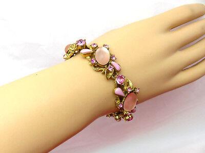 D&E Juliana Vintage Bracelet Pink Rhinestone 5 Link Cluster 7.5 inch Gold 147h