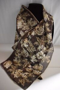 Vera-Neumann-for-honey-collection-oblong-silk-scarf-brown-leaves-hand-rolled-New