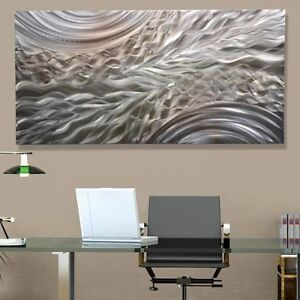 Silver accent modern metal wall art contemporary home for Modern silver home accessories