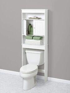 White Wooden Bathroom Storage Cabinet, White Bathroom Space Saver