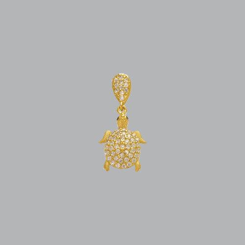 NEW 14K YELLOW gold LADIES FANCY SMALL TURTLE CZ PENDANT