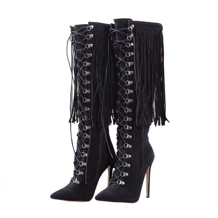 Femme Haut Talons Aiguilles Talon Cuissardes Frange Tassel Lace Up Chaussures De Fête UK