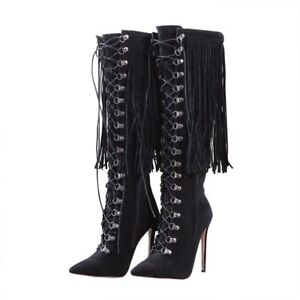 Womens-High-Stilettos-Heel-Thigh-High-Boots-Fringe-Tassel-Lace-up-Shoes-Party-UK