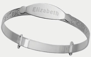 Real-925-Sterling-Silver-Personalised-Baby-Christening-Bangle-Heart-Bracelet