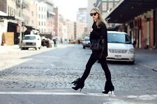 ZARA Black Leather Suede Fringe High Heel Boots Booties UK 5 Euro 38 Fringed
