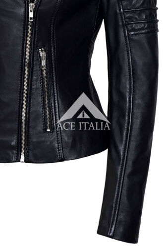 Ladies Black Biker Style Motorcycle Designer Celebrity Real Lamb Leather Jacket