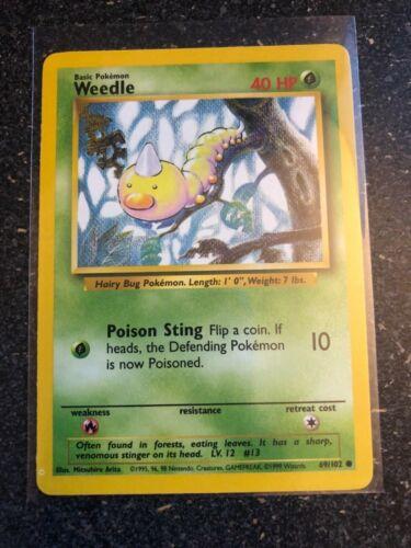 Weedle 1999 Unlimited 69//102 Near Mint Base Set Common Pokemon Card