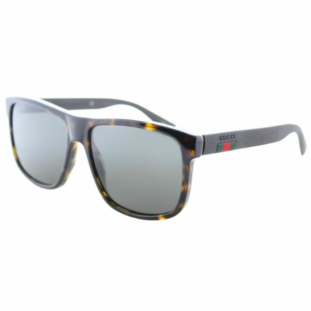 3b99e591793 Gucci GG0010S 003 Dark Havana Plastic Sunglasses Dark Grey Polarized Lens
