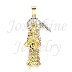 14k gold plated 3 tone santa muerte holy death grim reaper pendant image is loading 14k gold plated 3 tone santa muerte holy aloadofball Gallery