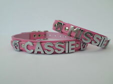 peronalised dog collar real english leather you choose name colour jack russell