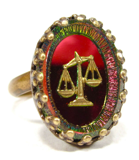 SoHo® Ring vintage altgold bronze bohemia oval volcano Waage Sternzeichen 50er