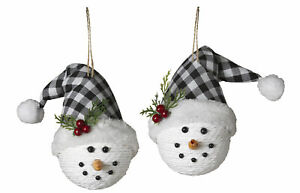 2-pc-Snowman-Hanging-Christmas-Ornaments-With-Plaid-Santa-Hats-Decorations-Set