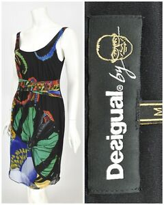 Womens-Desigual-by-Christian-Lacroix-Black-Dress-Viscose-Floral-Print-Size-M