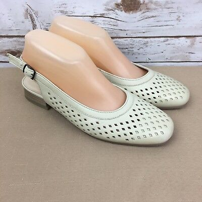 Ara Women's Bindi Leather Slingback Stacked Pumps Beige Bone Size 8.5 | eBay