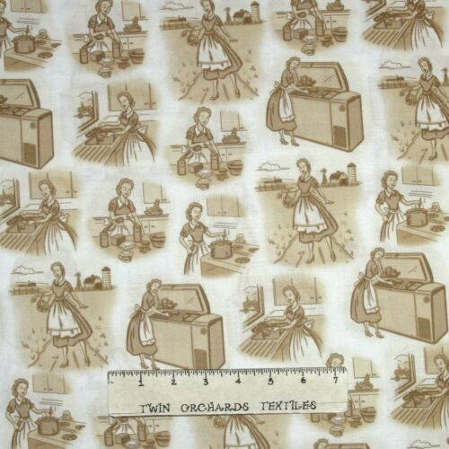 Remember When Housewife Sepia Scene 1950s Fabric Quilting Treasures QT YARD