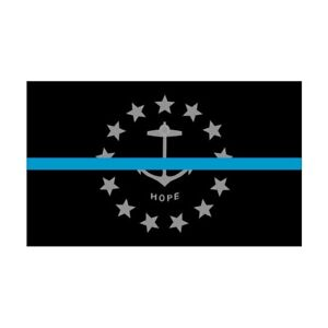 Rhode Island RI State Flag Thin Blue Line Police Sticker / Decal #277 USA Made