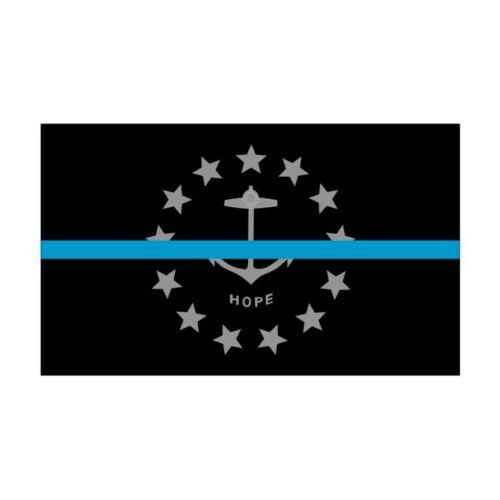 Decal #277 USA Made Rhode Island RI State Flag Thin Blue Line Police Sticker