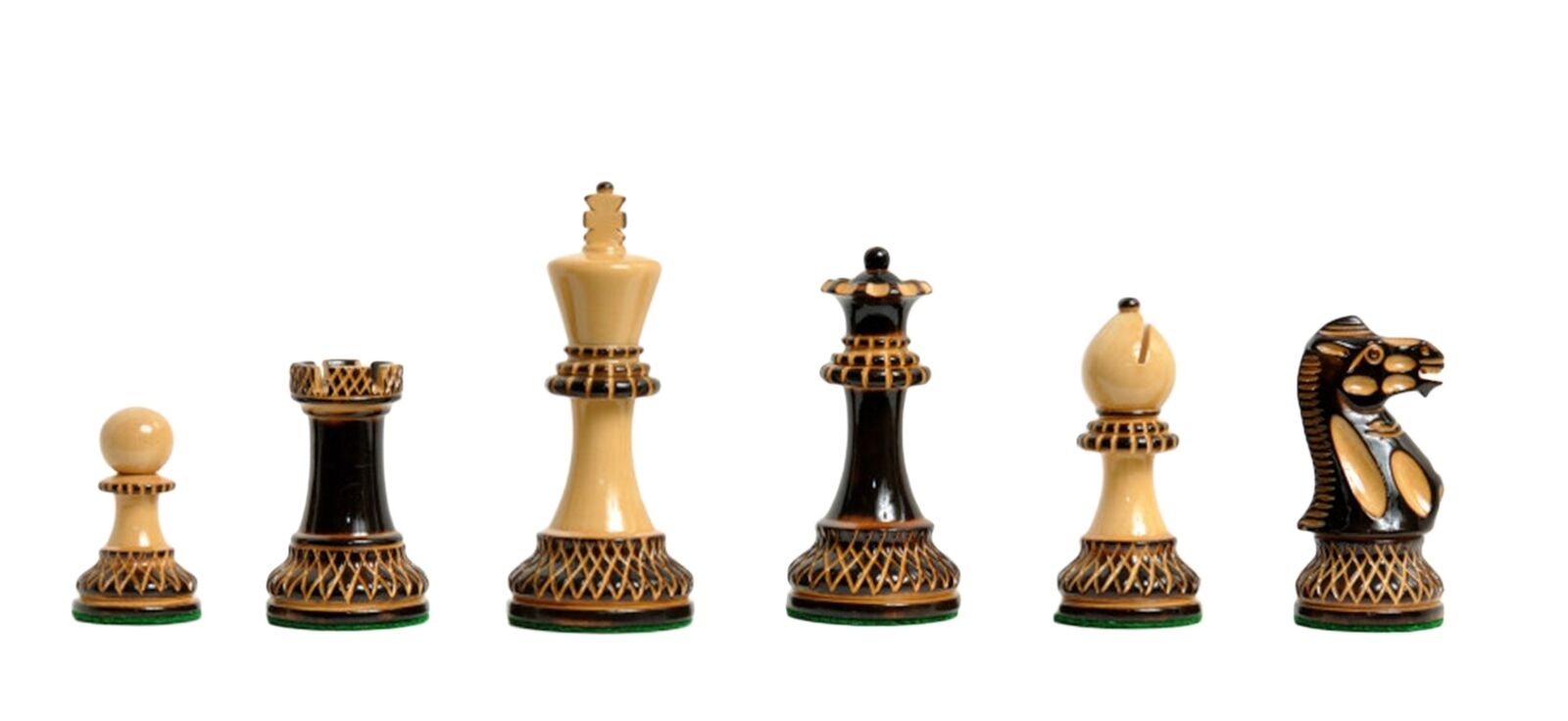 The Burnt Grandmaster II Chess Set - 4.0  King Burnt Boxwood and Natural Boxwood