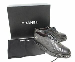 CHANEL-Ladies-Quilted-Black-Leather-Chain-Detail-Lace-Up-Brogues-Shoes-EU37-UK4