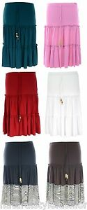 Womens-new-elastic-waist-stretch-3-tier-rara-skirt-with-beaded-ties-S-M-M-L-XL