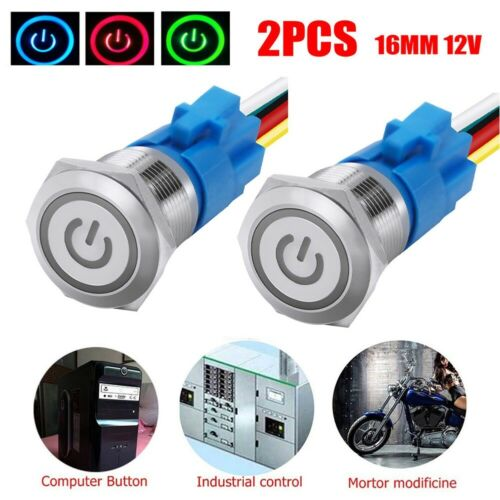 Details about  /2pcs 12V LED Power Symbol ON-OFF Car Push Self-locking Button Switch Latch Metal