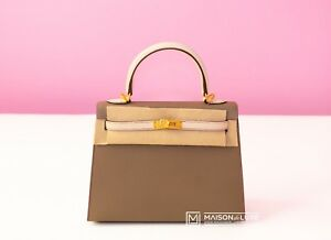 af0f3053d8ec NEW HERMES HSS ETOUPE CRAIE EPSOM KELLY 25 SELLIER BAG HANDBAG ...