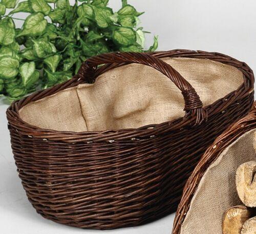 Corbeille à Bois Cheminée 60x40cm Saule//jute bois fruits pommes de terre légumes décoration Pâturage