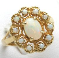 Estate 14k yellow gold OPAL Flower Cocktail Cluster Ring October Birthstone wow!