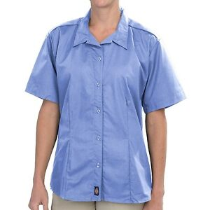 Women-039-s-Shirts-Dickies-Stretch-Oxford-Work-Shirt-Short-Sleeve-Blue