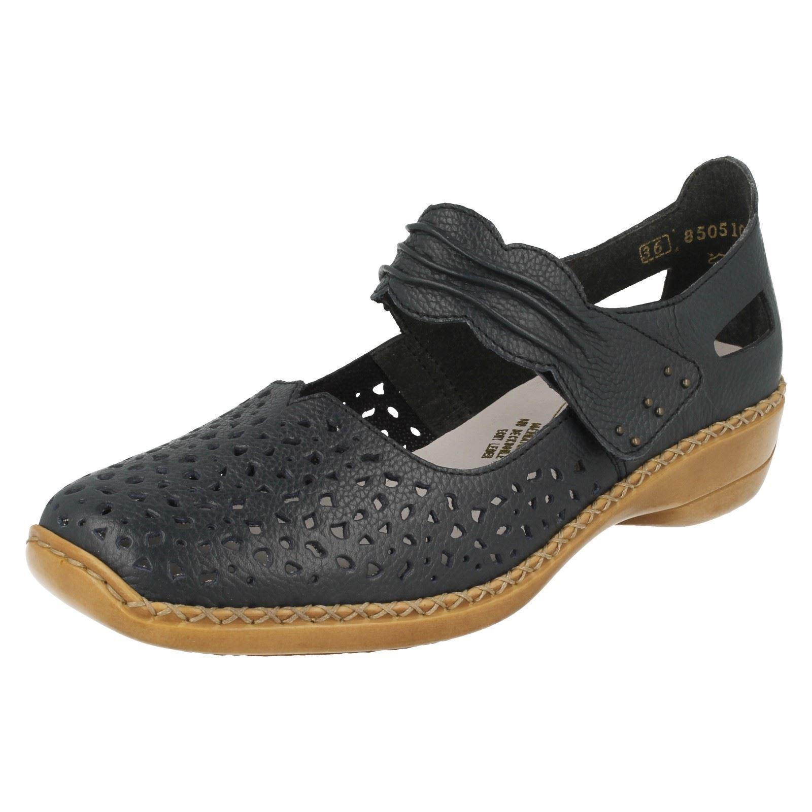 Mesdames rieker 41399 bleu en cuir Casual Mary Jane Bar Chaussures