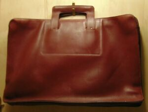 Image Is Loading BURGUNDY Leather 2 Gusset Briefcase Retracting HANDLES Hidden